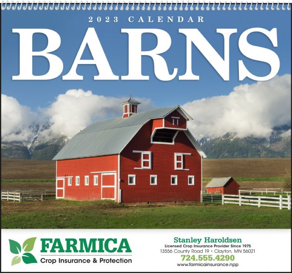 Scenic Barns 16-Month Wall Calendar- # 1700 - Click Image to Close